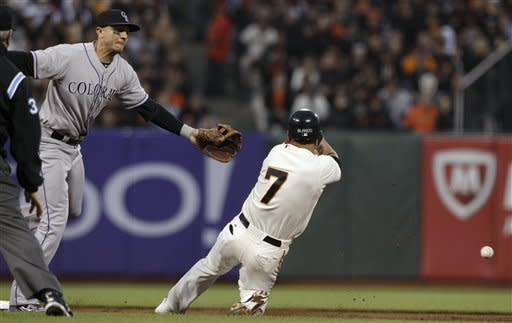 San Francisco Giants' Gregor Blanco (7) slides into second base as Colorado Rockies shortstop Troy Tulowitzki (2) reaches for the ball during the third inning of a baseball game in San Francisco, Tuesday, May 15, 2012. Rockies catcher Ramon Hernandez was charged with an error on the throw. (AP Photo/Jeff Chiu)