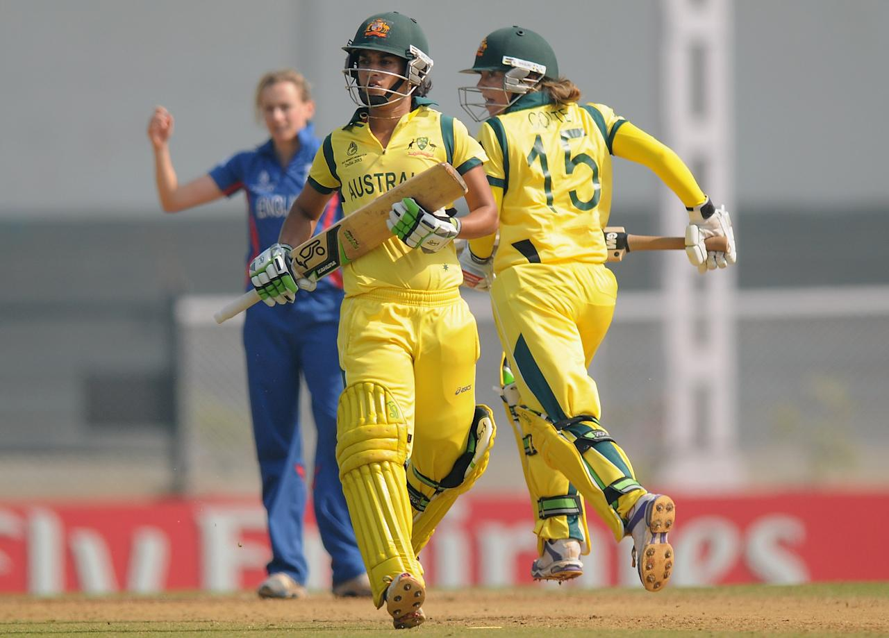 MUMBAI, INDIA - FEBRUARY 08:  Lisa Sthalekar of Australia and Sarah Coyte of Australia run between the wickets during the super six match  between England and Australia held at the CCI (Cricket Club of India)  on February 8, 2013 in Mumbai, India.  (Photo by Pal Pillai/Getty Images)