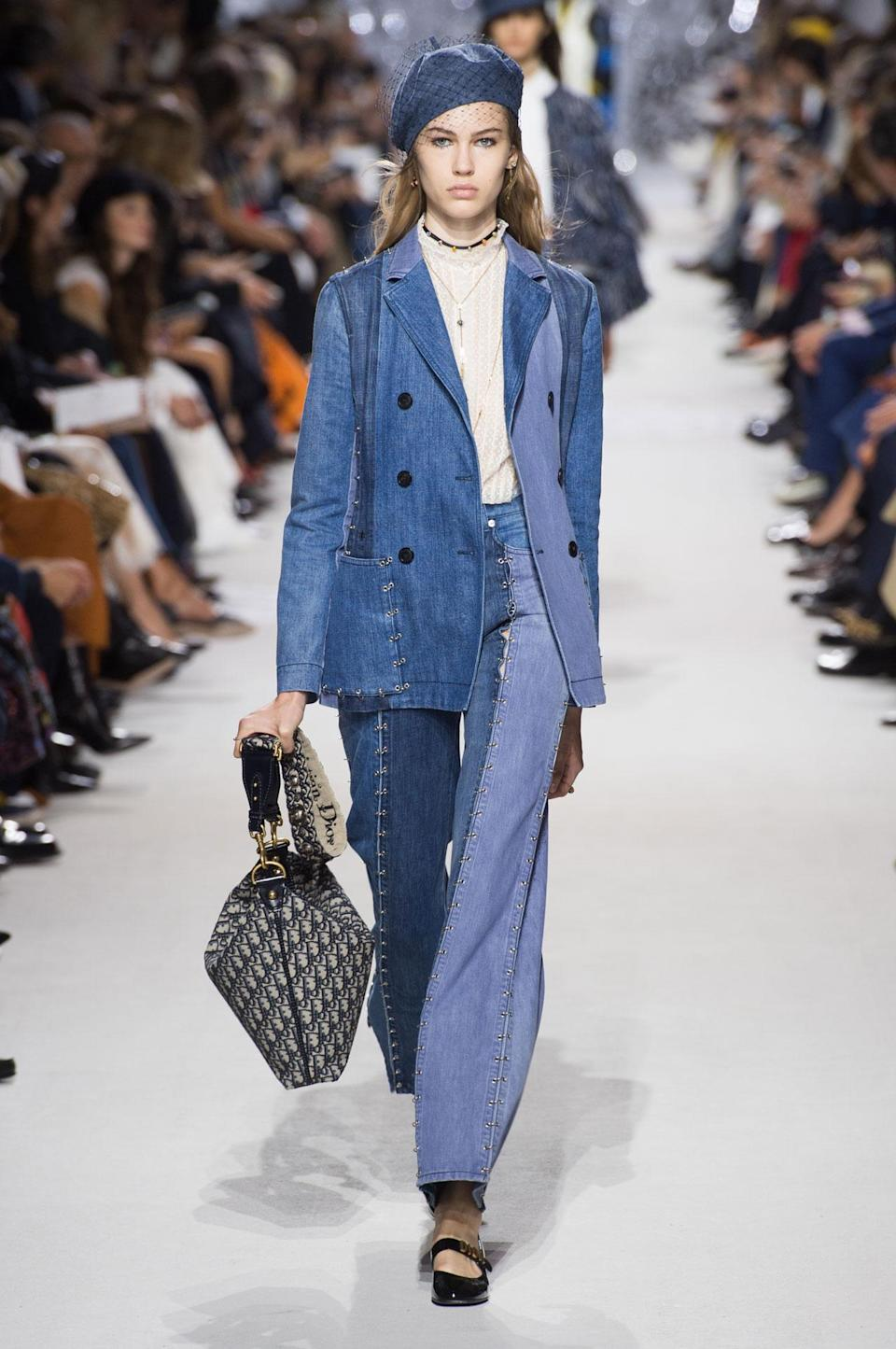<p>The SS18 Dior collection featured an ensemble consisting of a two-toned denim blazer and matching trousers. (Photo: ImaxTree) </p>