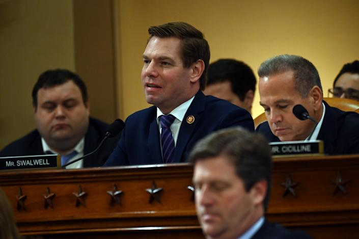 USA; Rep. Eric Swalwell, D-Calf., speaks during the House Judiciary Committee markup of H.Res. 755, Articles of Impeachment Against President Donald J. Trump in Washington, DC on Dec. 12, 2019.