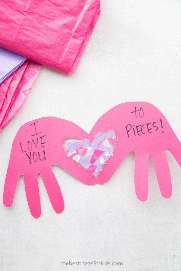 """<p>Once you trace and cut their handprints, have your kids fill the heart-shaped space with tissue paper, a fun way to express just how much they love dad.</p><p><a href=""""https://www.thebestideasforkids.com/i-love-you-to-pieces-craft/"""" rel=""""nofollow noopener"""" target=""""_blank"""" data-ylk=""""slk:Get the tutorial at The Best Ideas for Kids »"""" class=""""link rapid-noclick-resp""""><em>Get the tutorial at The Best Ideas for Kids »</em></a></p>"""
