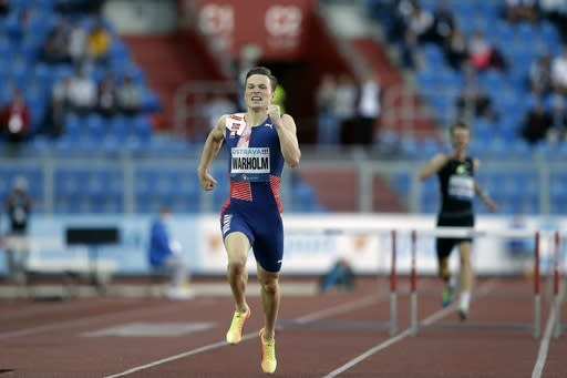 Karsten Warholm of Norway competes in 400 meters hurdles at the Golden Spike athletic meeting in Ostrava, Czech Republic, Tuesday, Sept. 8, 2020. (AP Photo/Petr David Josek)