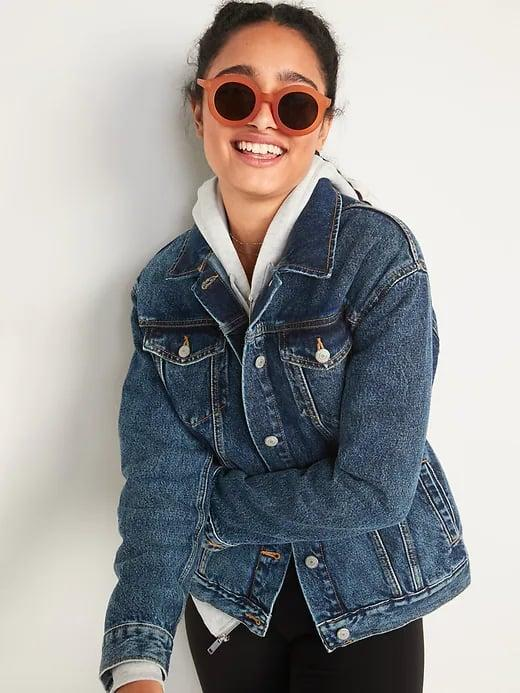 <p>This <span>Old Navy Dark-Wash Boyfriend Jean Jacket</span> ($45) has a looser, almost-oversized fit and a retro acid-washed shade.</p>