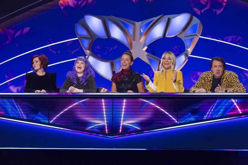 Sharon and Kelly Osbourne were guest judges on the latest episode of 'The Masked Singer' UK. (Bandicoot TV/ITV)