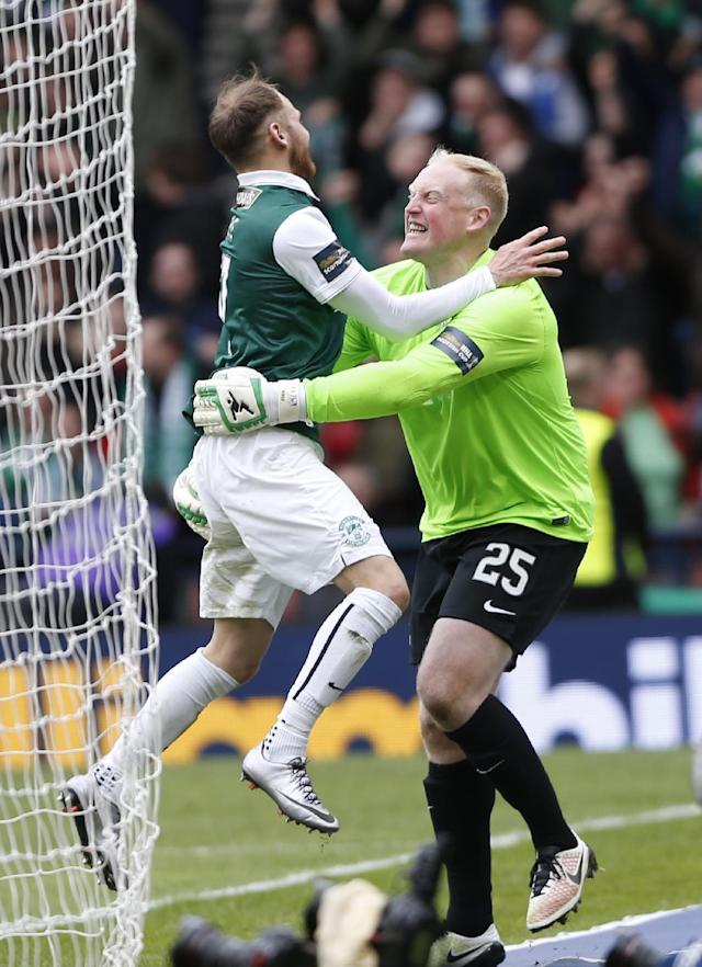 Football Soccer - Hibernian v Dundee United - William Hill Scottish Cup Semi Final - Hampden Park, Glasgow, Scotland - 16/4/16 Hibernian's Conrad Logan (R) and Martin Boyle celebrate after winning the penalty shootout Action Images via Reuters / Russell Cheyne Livepic EDITORIAL USE ONLY.