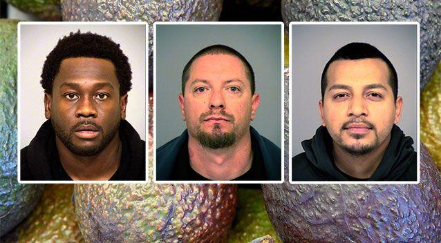 (In no order) Joseph Valenzuela, Carlos Chavez and Rahim Leblanc were charged with grand theft of fruit. Source: AAP