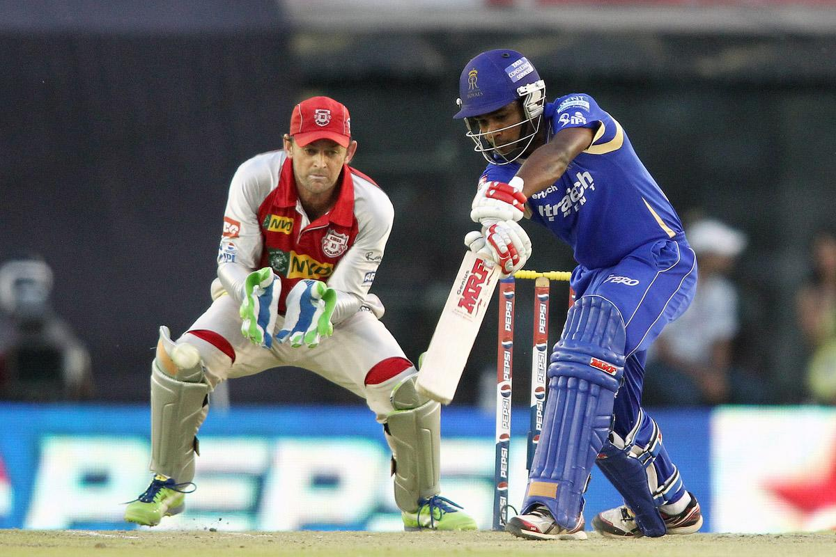 Sanju Samson of Rajasthan Royals drives a delivery through the covers during match 55 of of the Pepsi Indian Premier League between The Kings XI Punjab and the Rajasthan Royals held at the PCA Stadium, Mohali, India on the 9th May 2013. (BCCI)