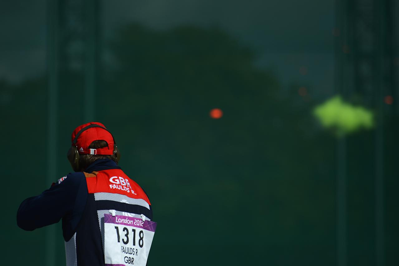 LONDON, ENGLAND - AUGUST 02: Richard Faulds of Great Britain competes in the Men's Double Trap Shooting qualification on Day 6 of the London 2012 Olympic Games at The Royal Artillery Barracks on August 2, 2012 in London, England.  (Photo by Lars Baron/Getty Images)