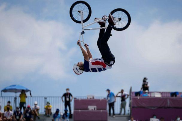 PHOTO: Justin Dowell of the United States makes a jump in the men's BMX Freestyle seeding at the 2020 Summer Olympics, Saturday, July 31, 2021, in Tokyo, Japan. (Ben Curtis/AP Photo)