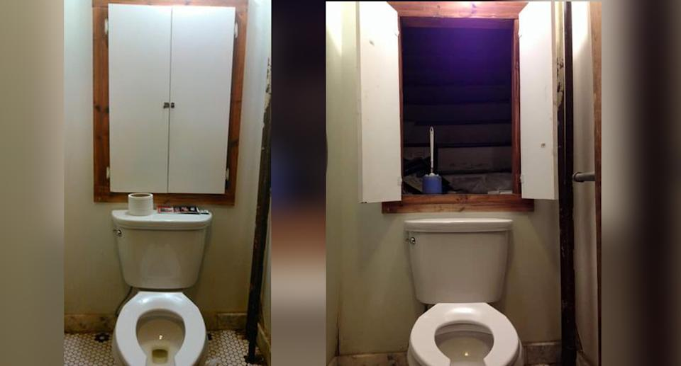 Facebook photos showing a man's discovery of stairs above a toilet.