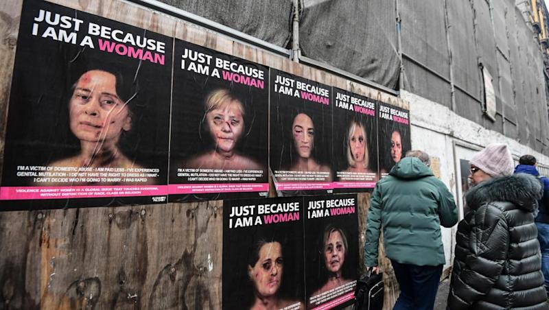 Battered faces campaign depicts women leaders as victims of violence