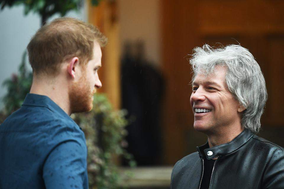 Jon Bon Jovi (right) greets the Duke of Sussex at the Abbey Road Studios in London where they will meet members of the Invictus Games Choir. PA Photo. Picture date: Friday February 28, 2020. They are recording a special single in aid of the Invictus Games Foundation. See PA story ROYAL Sussex. Photo credit should read: Victoria Jones/PA Wire