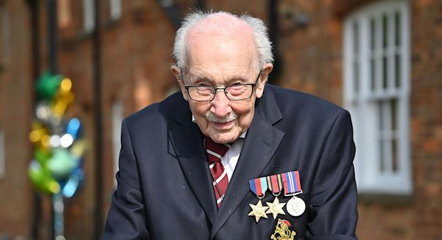 Captain Tom Moore raised over £32 million walking 100 laps of his Bedfordshire home, and is now set to release two books later this year. (Getty Images)