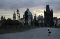 A dog crosses the medieval Charles Bridge as sun rises in Prague, Czech Republic, Thursday, Oct. 8, 2020. Coronavirus infections in the Czech Republic have hit a new record high for the second straight day, surpassing 5,000 cases in one day for the first time. The new confirmed day-to-day increase reached 5,335 on Wednesday, according to Health Ministry figures. It is almost 900 more than the previous record on Tuesday.(AP Photo/Petr David Josek)