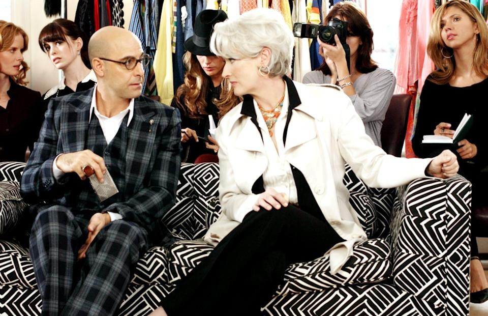 <p>To go as Miranda Priestly, the feared editor in chief at the fictional magazine, <strong>Runway</strong>, in <strong>The Devil Wears Prada</strong>, start with a polished short hairstyle and spray it silver.</p>