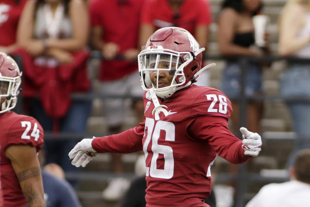 FILE - This Sept. 7, 2019, file photo shows Washington State defensive back Bryce Beekman (26) during the second half of an NCAA college football game against Northern Colorado in Pullman, Wash. Bryce Beekman has died. Police Cmdr. Jake Opgenorth said Wednesday, Marc 25, 2020, the 22-year-old Beekman was found dead at a residence in Pullman. He declined to provide additional details and said more information would be released later by the Whitman County coroners office. (AP Photo/Young Kwak, File)
