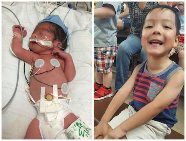 This is Danny. He was born at 33 weeks at 3 pounds and 3 ounces. He spent a month in the NICU. Those were the worst and most emotionally draining days of my life. He is now almost 4 years old and thriving. He is the sweetest, most spirited, sensitive ball of energy in my world. He surpasses our expectations every day and makes us laugh on a daily basis. He's a survivor.<br><br><i>--Gloria Guzman</i>