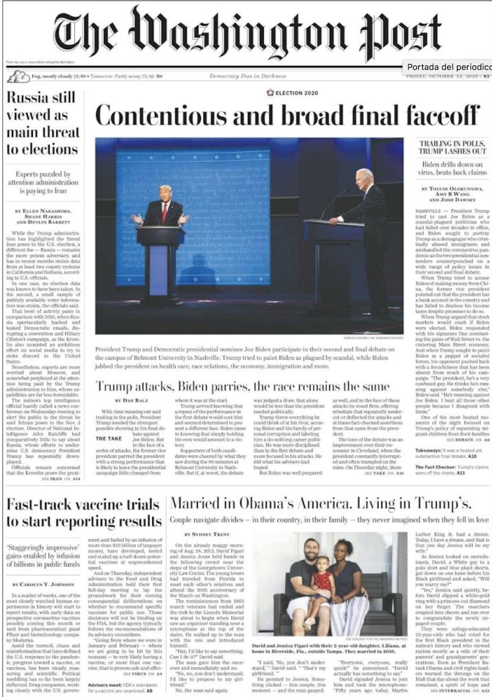 The front page of the Washington Post on Friday