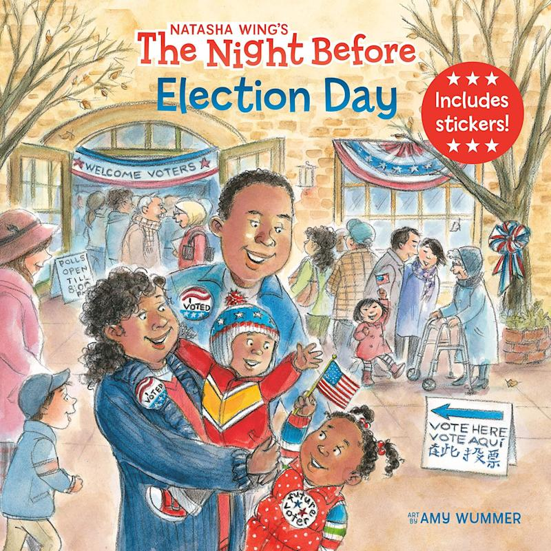 """Featuring a colorful sticker sheet, """"The Night Before Election Day"""" gives the famous Christmas poem a political spin. <i>(Available <a href=""""https://www.amazon.com/Night-Before-Election-Day/dp/0593095677"""" target=""""_blank"""" rel=""""noopener noreferrer"""">here</a>)</i>"""