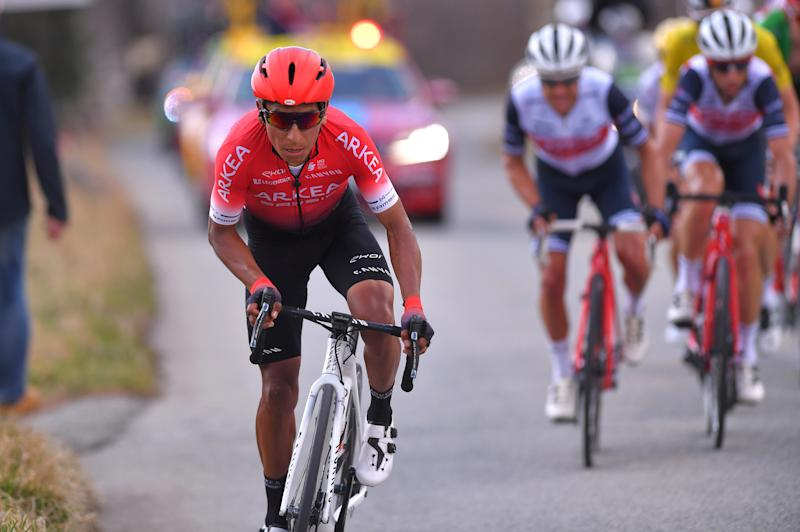 VALDEBLORE LA COLMIANE, FRANCE - MARCH 14: Nairo Quintana of Colombia and Team Arkea - Samsic / Richie Porte of Australia and Team Trek - Segafredo / Vincenzo Nibali of Italy and Team Trek - Segafredo / during the 78th Paris - Nice 2020 - Stage 7 a 166,5km stage from Nice to Valdeblore La Colmiane 1500m / Paris - Nice 2020 final stage as part of the fight against the spread of the Coronavirus / #ParisNice / @parisnicecourse / PN / on March 14, 2020 in Valdeblore La Colmiane, France. (Photo by Luc Claessen/Getty Images)