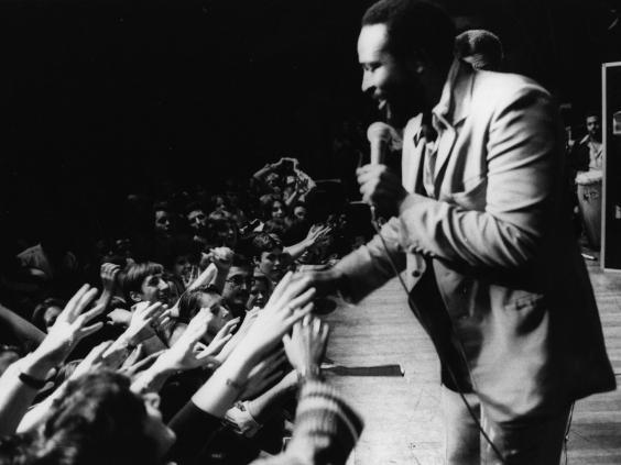 Soul legend Marvin Gaye in concert at the Royal Albert Hall in 1976 (Getty)