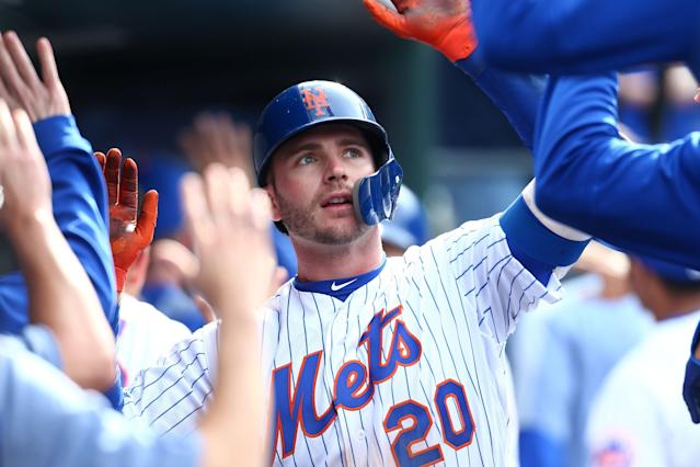 Pete Alonso's sample-size to date may be small, but it allows both Mets' fans and the organization to dream on his potential over a 162-game season. (Getty Images)