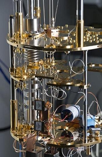 The superconducting circuit acts like an artificial atom. The device must be kept just a few degrees above absolute zero so heat will not interfere with the microwaves flowing through the device.