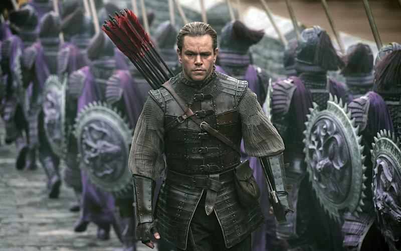 """This image released by Legendary Pictures and Universal Pictures shows Matt Damon as William Garin in a scene from """"The Great Wall."""" (Jasin Boland/Legendary Pictures and Universal Pictures via AP)"""