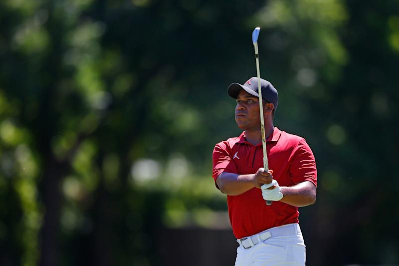 FORT WORTH, TEXAS - JUNE 11: Harold Varner III shot an opening-round 63 on Thursday to make him the co-leader after Round 1 of the Charles Schwab Challenge at Colonial Country Club in Fort Worth, Texas. (Photo by Ronald Martinez/Getty Images)