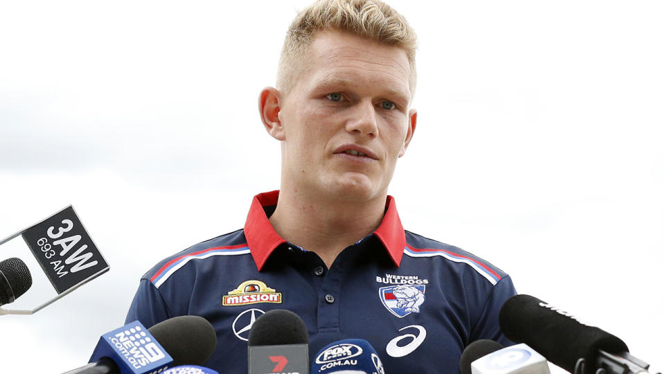 Adam Treloar, pictured here during a Western Bulldogs media opportunity at Whitten Oval.