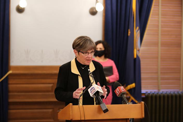 Gov. Laura Kelly talks about Kansas' COVID-19 vaccination plan during a news conference at the Statehouse in Topeka.