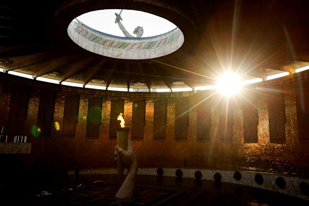 The Eternal Flame is seen inside the Mamayev Kurgan World War Two memorial complex in Volgograd, Russia, June 21, 2018. As well as shooting all the matches, Reuters photographers are producing pictures showing their own quirky view from the sidelines of the World Cup. REUTERS/Jorge Silva. TPX IMAGES OF THE DAY