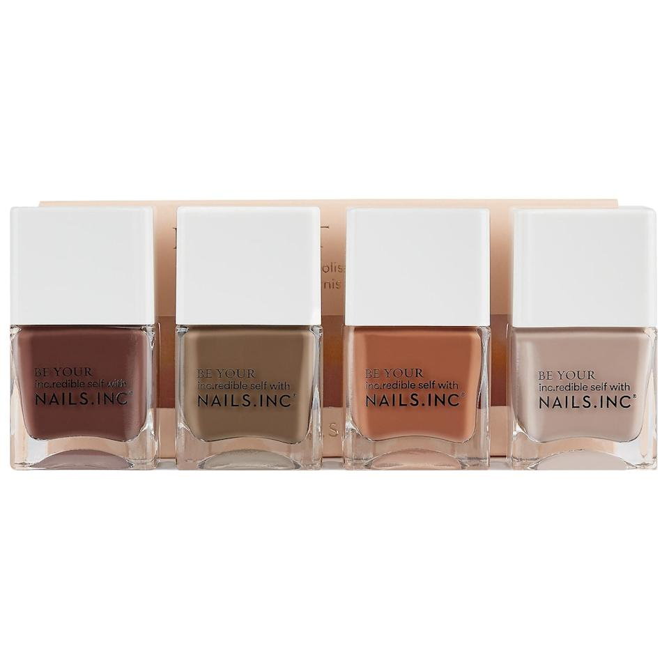 "<p>This <a href=""https://www.popsugar.com/buy/Nails-Inc-Keep-Tonal-Nail-Polish-Set-556825?p_name=Nails%20Inc.%20Keep%20It%20Tonal%20Nail%20Polish%20Set&retailer=sephora.com&pid=556825&price=22&evar1=bella%3Aus&evar9=47308368&evar98=https%3A%2F%2Fwww.popsugar.com%2Fbeauty%2Fphoto-gallery%2F47308368%2Fimage%2F47308373%2FNails-Inc-Keep-It-Tonal-Nail-Polish-Set&list1=shopping%2Csephora%2Cnail%20polish%2Cnails%2Cspring%2Cbeauty%20shopping%2Cspring%20beauty&prop13=mobile&pdata=1"" rel=""nofollow"" data-shoppable-link=""1"" target=""_blank"" class=""ga-track"" data-ga-category=""Related"" data-ga-label=""https://www.sephora.com/product/nails-inc-keep-it-tonal-nail-polish-set-P455562?icid2=products%20grid:p455562"" data-ga-action=""In-Line Links"">Nails Inc. Keep It Tonal Nail Polish Set</a> ($22) is a fun way to do an ombré manicure.</p>"