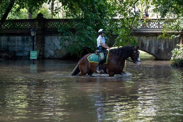 New York City Parks Security Service officers on horseback explore the Greyshot Arch, which is flooded in Central Park after a night of extremely heavy rain caused by Hurricane Ida. (Photo: Alexi J. Rosenfeld via Getty Images)