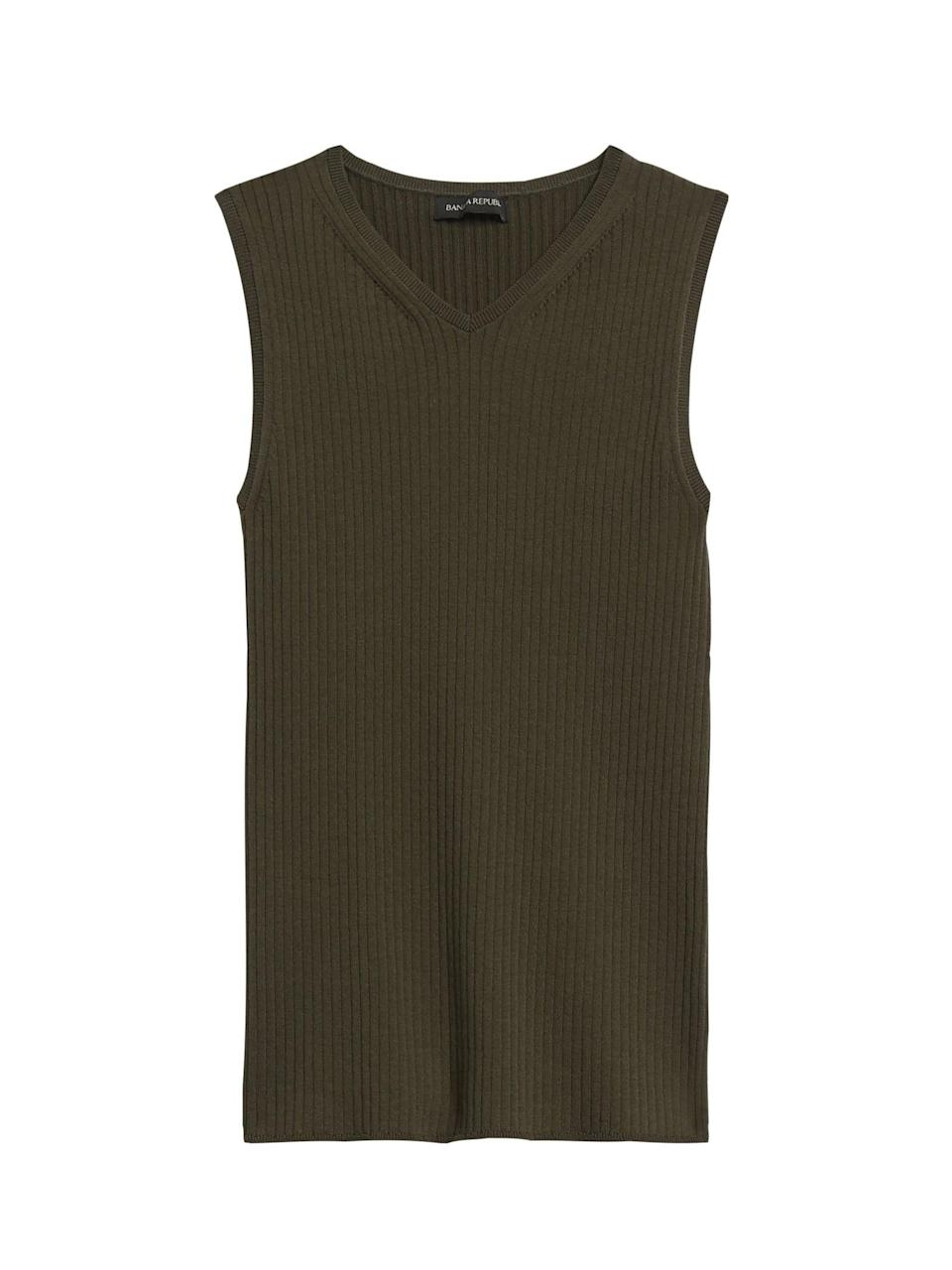 <p>This <span>V-Neck Sweater Top</span> ($41, originally $60) also makes a polished and versatile layer.</p>