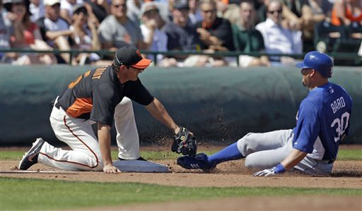 Los Angeles Dodgers' Josh Bard, right, is tagged out at third base by San Francisco Giants third baseman Ryan Theriot while trying to advance from first base on a single by Mark Ellis during the third inning of a spring training baseball game on Wednesday, March 28, 2012, in Scottsdale, Ariz. (AP Photo/Marcio Jose Sanchez)
