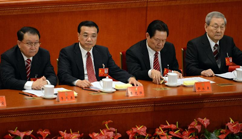 File photo of Chinese leaders (from L) Li Changchun, Vice Premier Li Keqiang, then security chief Zhou Yongkang and former premier Zhu Rongji attending the opening of the 18th Communist Party Congress, in Beijing, on November 8, 2012 (AFP Photo/Goh Chai Hin)