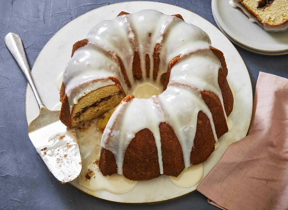 "<p><strong>Recipe: </strong><a href=""https://www.southernliving.com/recipes/sock-it-to-me-cake"" rel=""nofollow noopener"" target=""_blank"" data-ylk=""slk:Sock It To Me Cake"" class=""link rapid-noclick-resp""><strong>Sock It To Me Cake</strong></a></p> <p>Vintage recipes are always a hit with our readers, and this nostalgic cake from the '60s is a continued success with bakers. Delicious with a morning cup of coffee or after dinner, this comforting cake has a simple ingredient list that's easy to follow.</p>"