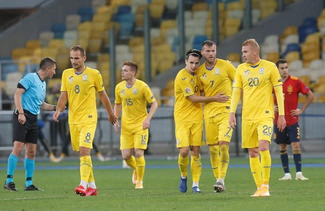 With fans in stands, Ukraine beats Spain for 1st time