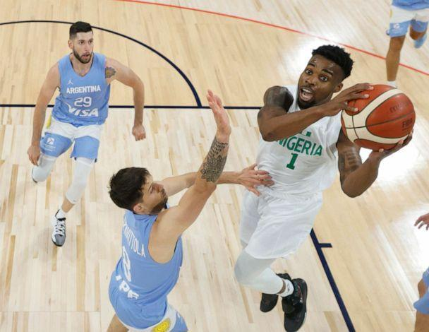 PHOTO: Ike Iroegbu #1 of Nigeria drives to the basket against Nicolas Laprovittola #8 of Argentina during an exhibition game at Michelob ULTRA Arena ahead of the Tokyo Olympic Games on July 12, 2021 in Las Vegas. (Ethan Miller/Getty Images)