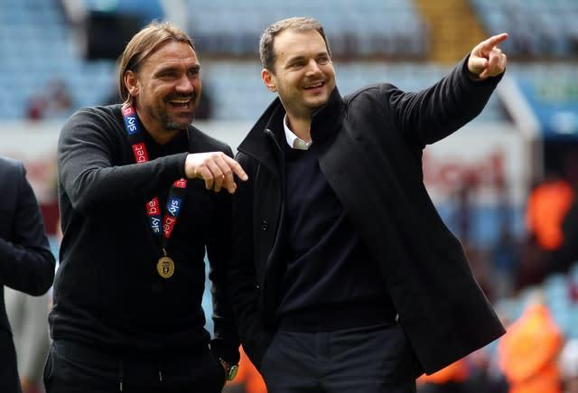Stuart Webber (right), pictured with manager Daniel Farke, has made a success out of the sporting director role at Norwich (Nigel French, PA)