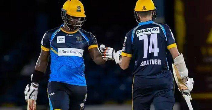 Mitchell Santner (R) was the only competent player with the bat for the Tridents in their last CPL game