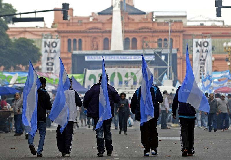 The CGT staged a major protest against Macri's government in April, when 350,000 people marched against layoffs and the slumping economy