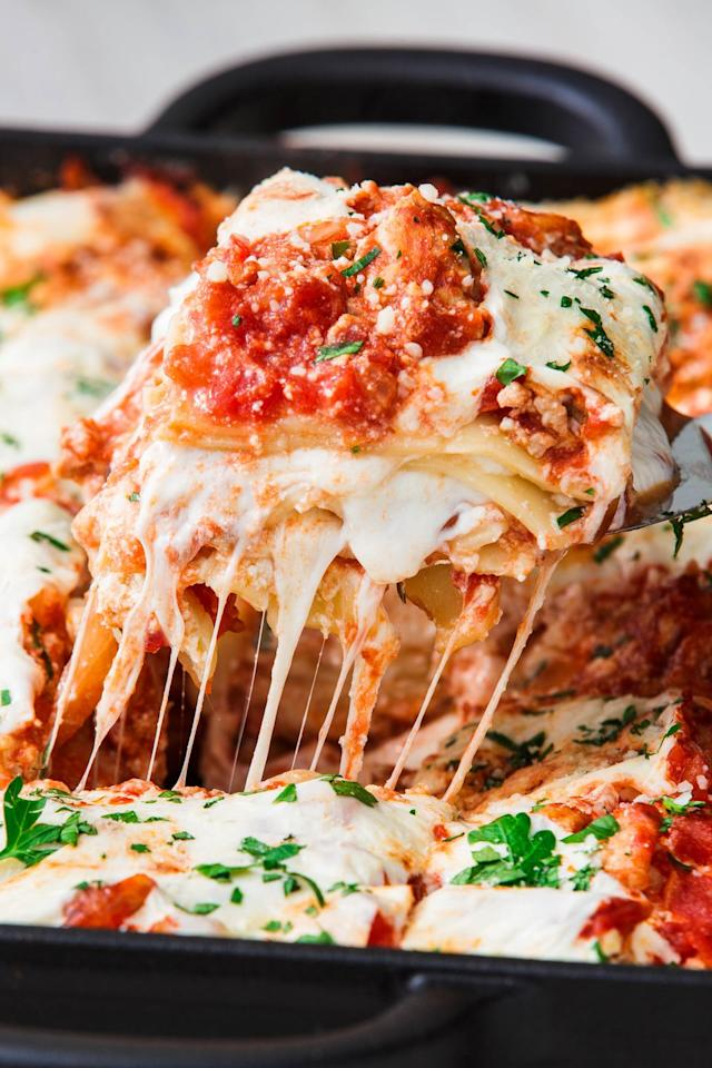 "<p>Everything you love about a <a rel=""nofollow"" href=""https://www.delish.com/cooking/recipe-ideas/recipes/a51337/classic-lasagna-recipe/"">traditional lasagna</a>, only you'll feel a little better after destroying a big slice. </p><p>Get the recipe from <a rel=""nofollow"" href=""https://www.delish.com/cooking/recipe-ideas/a23480922/turkey-lasagna-recipe/"">Delish</a>. </p>"
