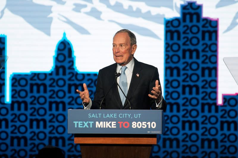 FILE PHOTO: Democratic presidential candidate Mike Bloomberg holds a campaign rally in Salt Lake City