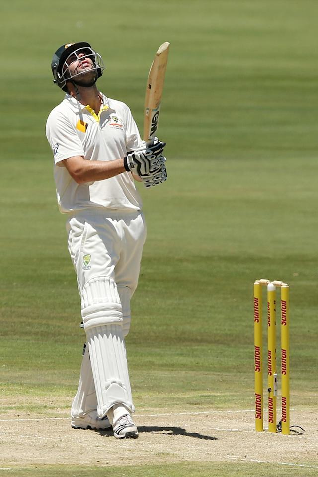 CENTURION, SOUTH AFRICA - FEBRUARY 12: Alex Doolan of Australia reacts after getting out during day one of the First Test match between South Africa and Australia on February 12, 2014 in Centurion, South Africa. (Photo by Morne de Klerk/Getty Images)