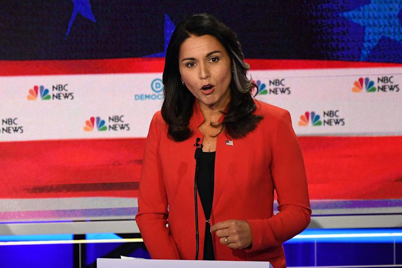 Democratic presidential hopeful US Representative for Hawaii's 2nd congressional district Tulsi Gabbard speaks during the first Democratic primary debate of the 2020 presidential campaign season hosted by NBC News at the Adrienne Arsht Center for the Performing Arts in Miami, Florida, June 26, 2019. | Jim Watson—AFP/Getty Images