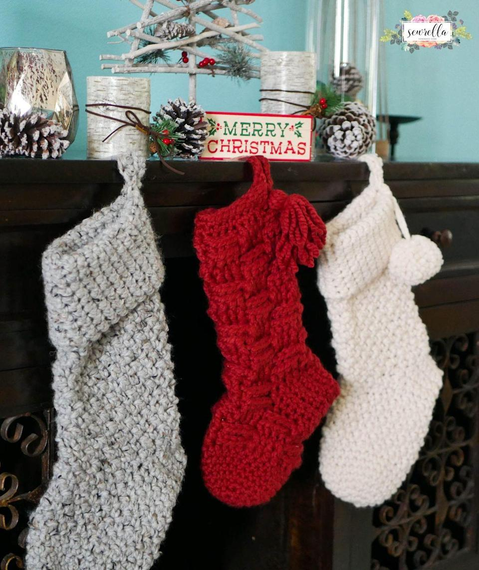 """<p>A stocking is meant to be filled with treats, and these jumbo stockings make room for lots of fun <a href=""""https://www.countryliving.com/shopping/gifts/g2190/stocking-stuffers/"""" rel=""""nofollow noopener"""" target=""""_blank"""" data-ylk=""""slk:stocking stuffers"""" class=""""link rapid-noclick-resp"""">stocking stuffers</a>!</p><p><strong>Get the tutorial at <a href=""""https://www.sewrella.com/jumbo-crochet-christmas-stockings/"""" rel=""""nofollow noopener"""" target=""""_blank"""" data-ylk=""""slk:Sewrella"""" class=""""link rapid-noclick-resp"""">Sewrella</a>.</strong></p><p><strong><a class=""""link rapid-noclick-resp"""" href=""""https://www.amazon.com/Clover-3672-Amour-Crochet-sizes/dp/B00B2CCA6W/ref=sr_1_3?tag=syn-yahoo-20&ascsubtag=%5Bartid%7C10050.g.28872655%5Bsrc%7Cyahoo-us"""" rel=""""nofollow noopener"""" target=""""_blank"""" data-ylk=""""slk:SHOP CROCHET HOOKS"""">SHOP CROCHET HOOKS</a><br></strong></p>"""
