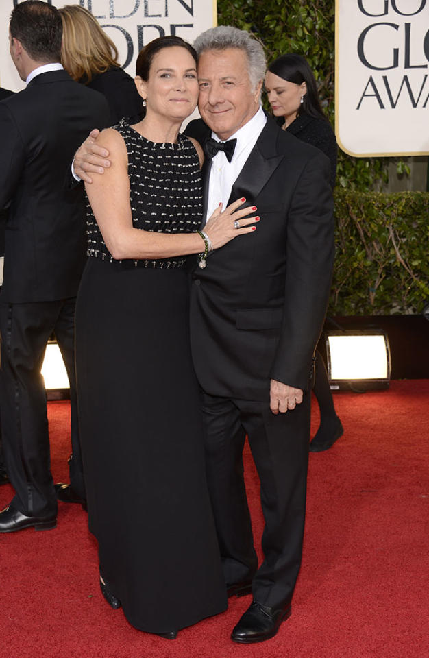 Lisa Gottsegen and Dustin Hoffman arrive at the 70th Annual Golden Globe Awards at the Beverly Hilton in Beverly Hills, CA on January 13, 2013.