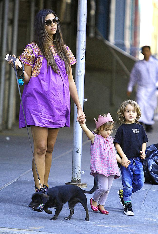 Camila Alves McConaughey and her two kids Levi and Vida were spotted walking their dog in New York City's TriBeCa District. While walking across a street, little Vida took a tumble bring brother Levi down with her. Later in the day, father Matthew McConaughey was seen arriving back at their hotel. Pictured: Levi Alves McConaughey, Vida Alves McConaughey and Camila McConaughey  Ref: SPL430291  300812  Picture by: Said Elatab/ Splash News   Splash News and Pictures Los Angeles:310-821-2666 New York:212-619-2666 London:870-934-2666 photodesk@splashnews.com